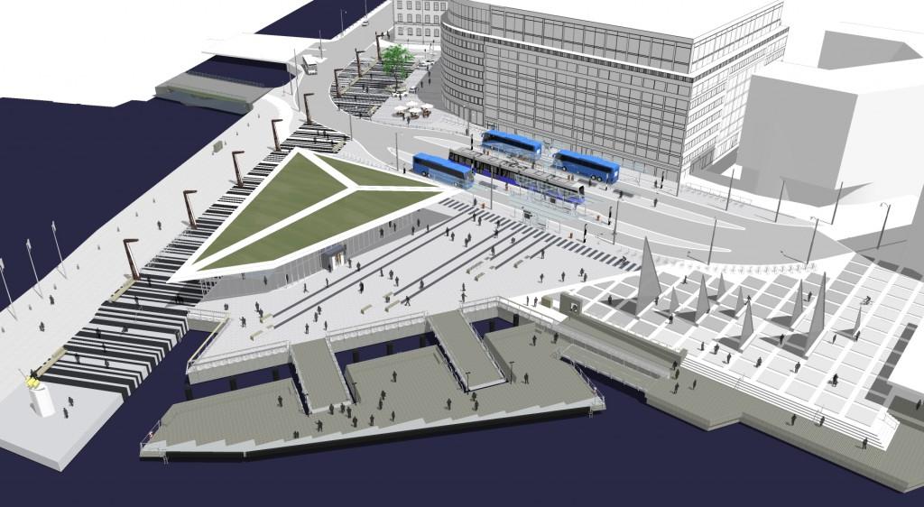 Nya Skeppsbron växer fram. Vi ligger på plan 7 med en svindlande utsikt över hamnen.